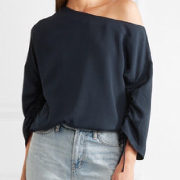 8ec423b181394 NWT Tibi one-shoulder crepe top Navy blouse Sz L